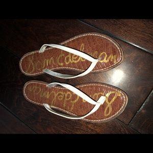 Sam Edelman White Gracie Flip Flops